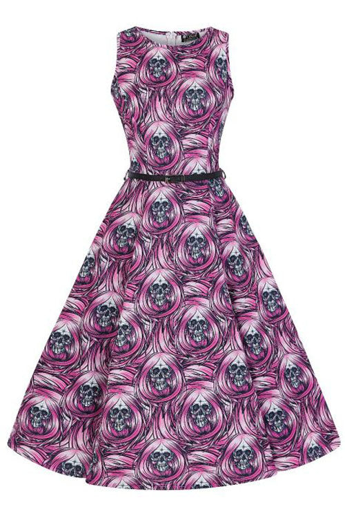 Lady Vintage Hepburn Dress in Spooky Skulls