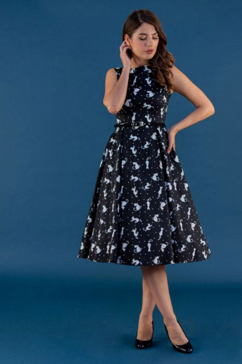Lady Vintage Hepburn Dress in Ditsy Cats