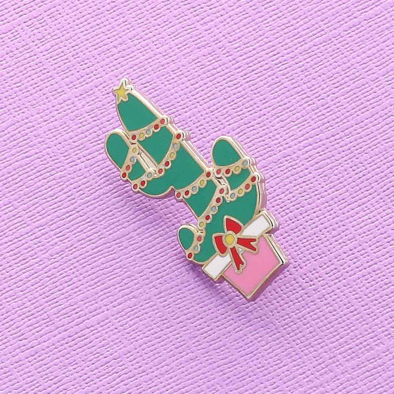 Punky Pins Fairy Lights Cactus Enamel Pin (Christmas)