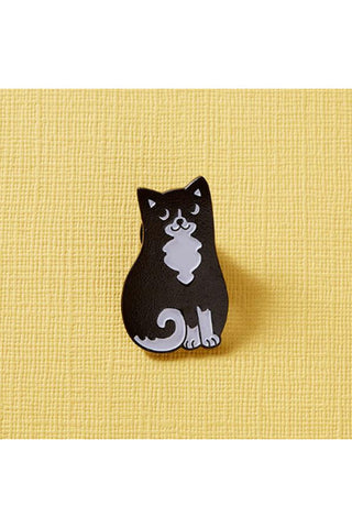 Punky Pins Black & White Cat Enamel Pin