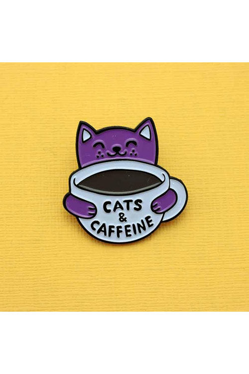 Punky Pins Cats and Caffeine Enamel Pin