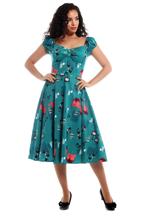 Collectif Dolores Doll Dress in Atomic Cats