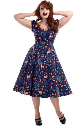 Collectif Dolores Doll Dress in Forest Friends