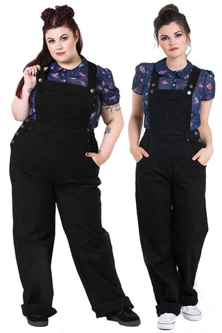 Hell Bunny Elly May Black Denim Dungaree / Overalls