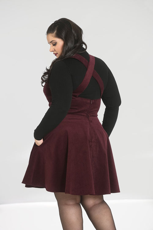 Hell Bunny Wonder Years Pinafore in Wine