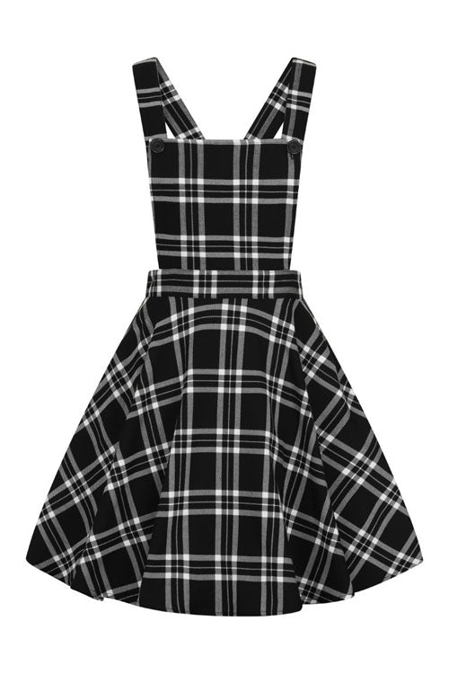 Hell Bunny Islay Pinafore Dress in Black & White