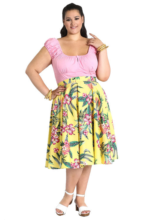 Hell Bunny Kalani 50's Skirt in Yellow