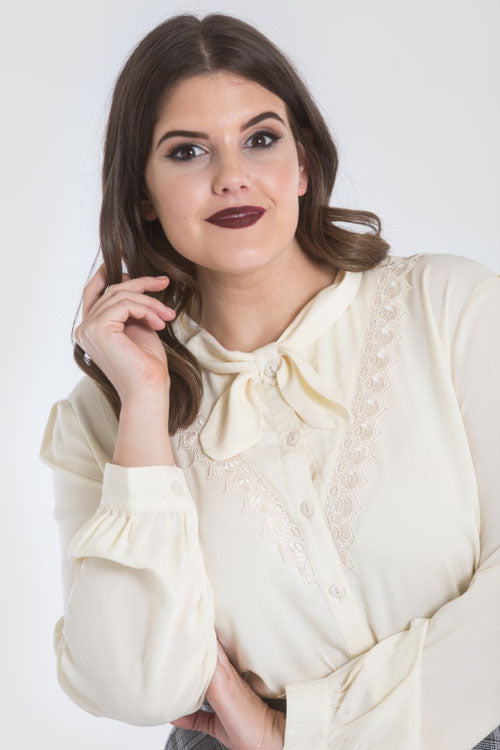 Hell Bunny Adelia Blouse in Ivory