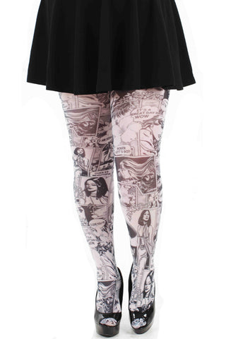Pamela Mann Hosiery Opaque Tights Paradise Island Comic in Black & White