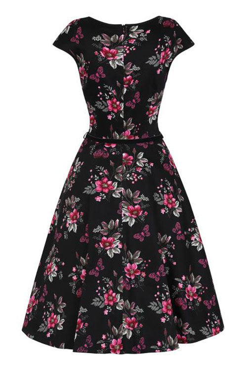 Lady Vintage Isabella Dress in Pearly Pink Butterflies on Black