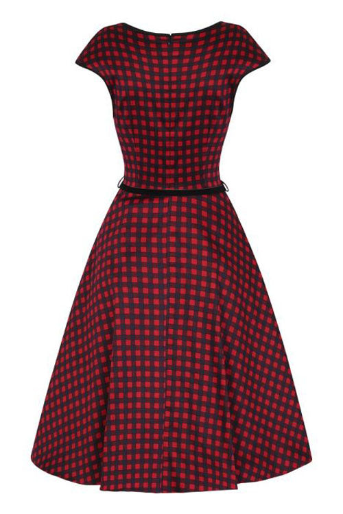 Lady Vintage Isabella Dress in Crimson Gingham