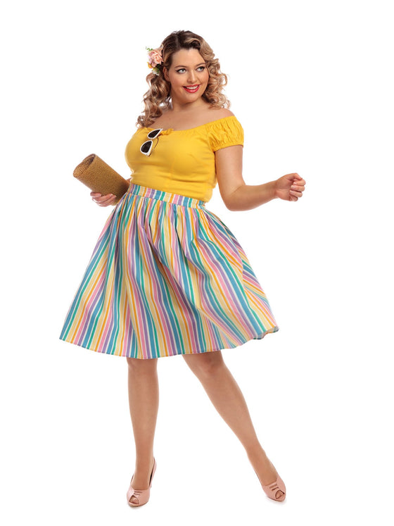 Collectif Jasmine Swing Skirt in Rainbow Stripes