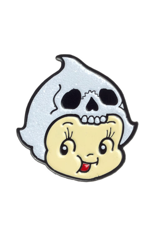 Sourpuss Kewpie Skull Enamel Pin