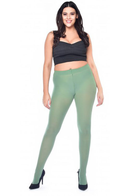 Pamela Mann Hosiery Curvy Super-Stretch 50 Denier Tights in Leaf Green