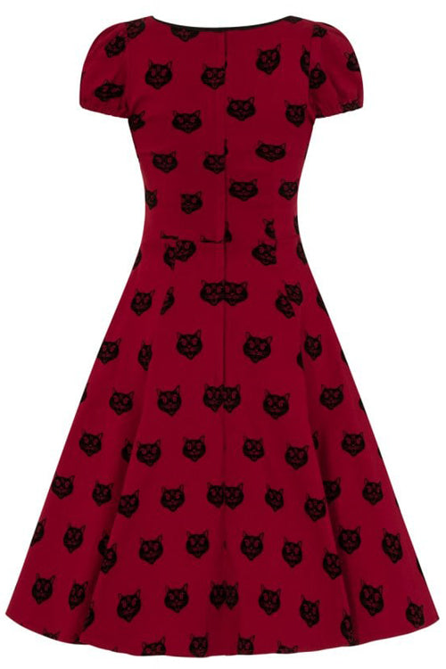 Collectif Mimi Doll Dress in Red Velvet Flocked Cat Print