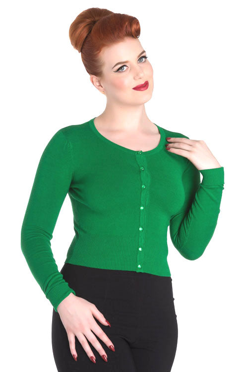 Hell Bunny Paloma Cardigan in Green