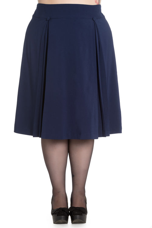 Hell Bunny Kennedy 50's Skirt in Navy
