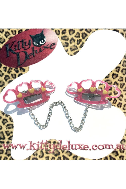 Kitty Deluxe Cardigan Clips in Hot Pink Pretty Punchy Knuckleduster Design