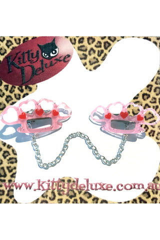 Kitty Deluxe Cardigan Clips in Baby Pink Pretty Punchy Knuckleduster Design