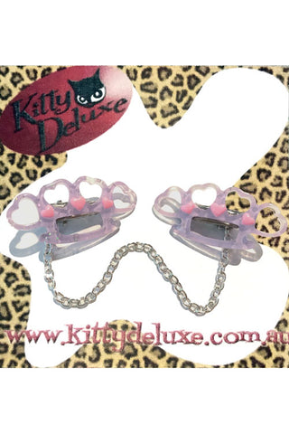 Kitty Deluxe Cardigan Clips in Purple Pretty Punchy Knuckleduster Design