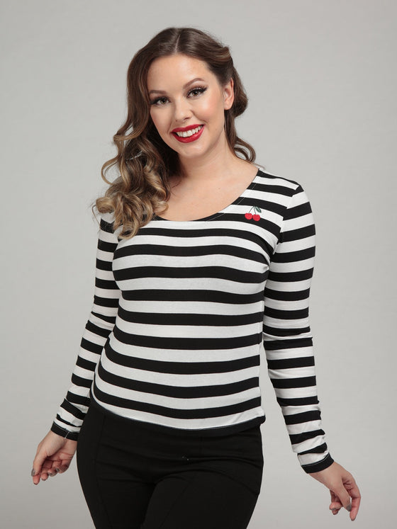 Collectif Purdy Cherry Striped Top