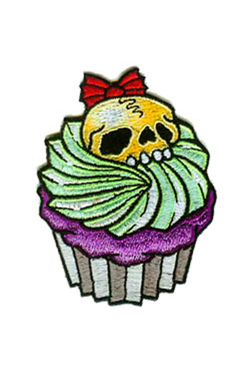 Kreepsville 666 Iron on Patch of Skull Cupcake