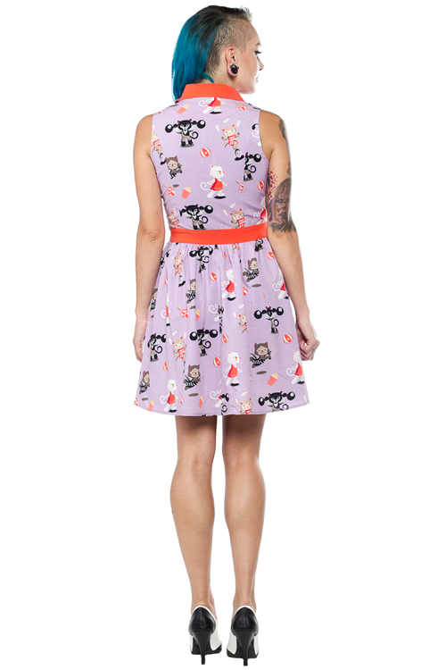 Sourpuss June Dress in Circus Cats