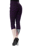 Sourpuss Sugar Pie Capri Pants in Purple Zebra Print