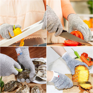Cut Resistant Gloves, High Performance Level 5 Protection, Food Grade,Safety Cutting Gloves for Kitchen Working or Gardening, Finger Hand Protector, Machine Washable, 1 Pair (Large)