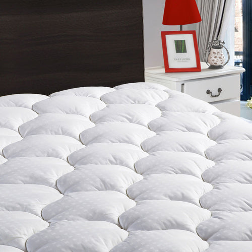 "Overfilled Fitted Mattress Pad Cover(8-21""Deep Pocket)-Cooling Mattress Topper with Snow Down Alternative Fill"