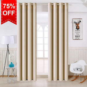TEKAMON Thermal Insulated Blackout Grommet Curtains for Living Room/Bedroom (Cream)