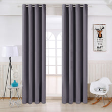 TEKAMON Thermal Insulated Blackout Grommet Curtains for Living Room/Bedroom (Dark Grey)