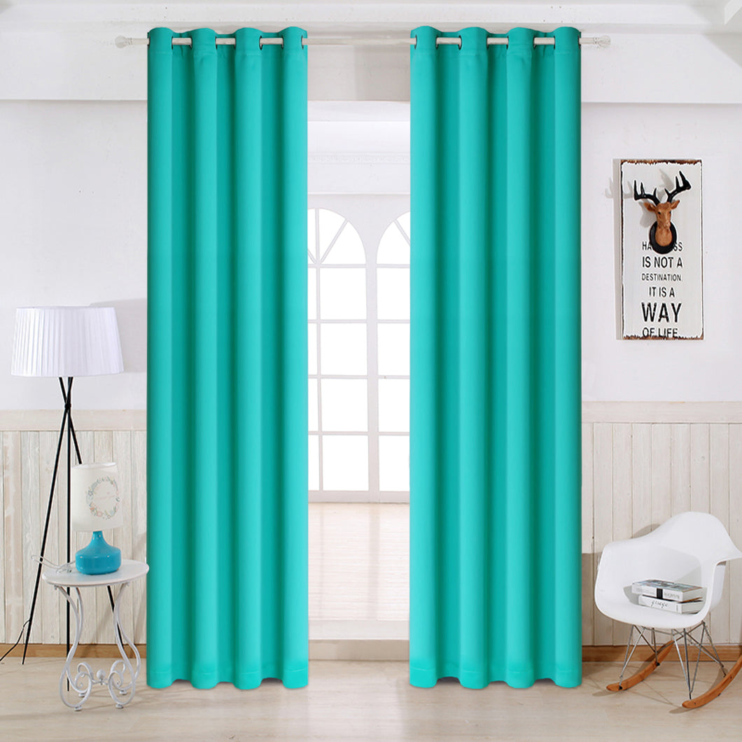 TEKAMON Thermal Insulated Blackout Grommet Curtains for Living Room/Bedroom (turquoise)