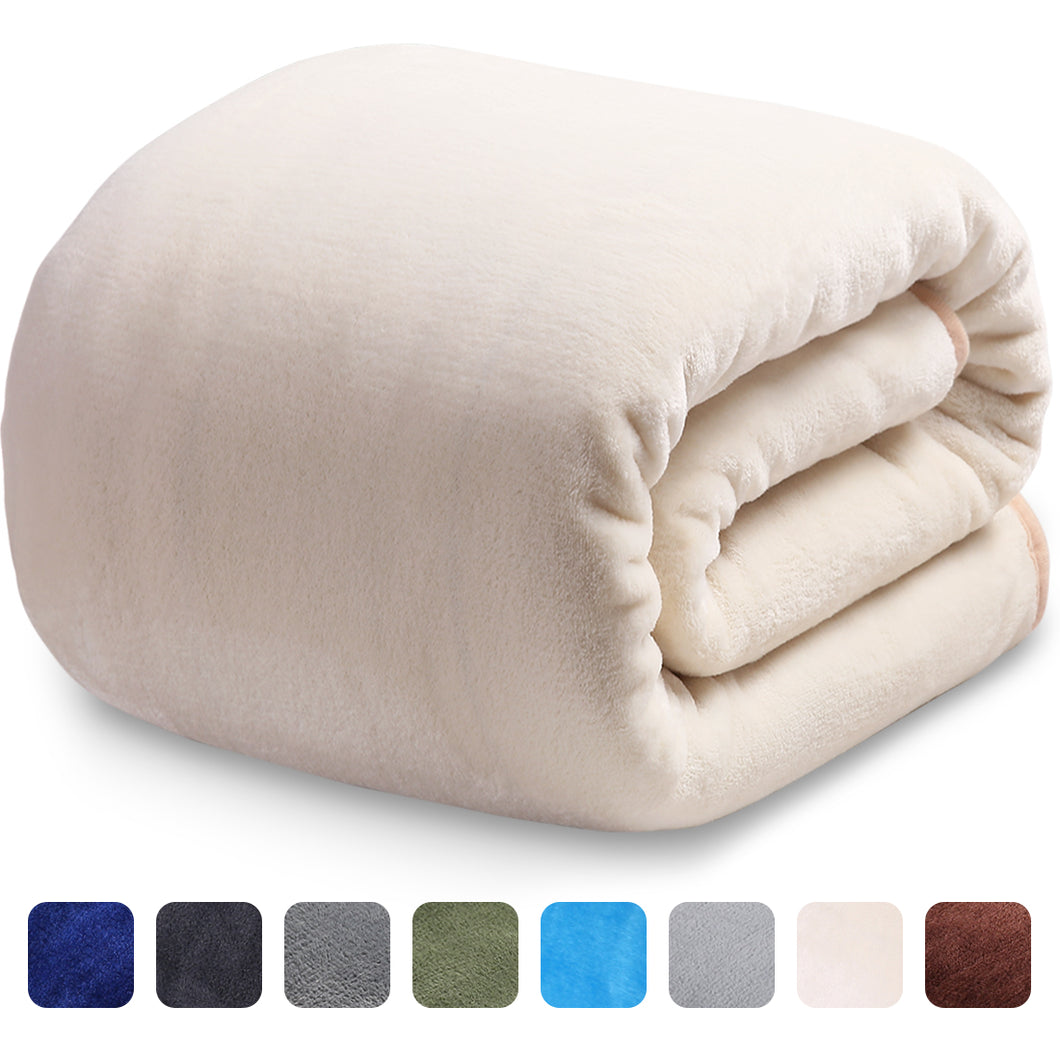 Fleece Blanket Super Soft Warm Extra Silky Lightweight Bed Blanket, Couch Blanket, Travelling and Camping Blanket (Ivory)