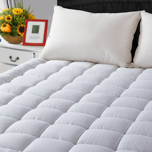 "Cooling Mattress Pad Cover(8-21""Deep Pocket)-Fitted Quilted Mattress Topper Hypoallergenic Down Alternative Fill"