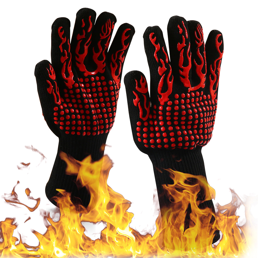 Heat Resistant Oven Gloves, EN407 Certified Withstand 1472 °F(800 °C), 100% hand & Forearm Protection, BBQ Gloves & Oven Mitts For Cooking, Baking, Grilling, 1 Pair, Extended Long Cuff