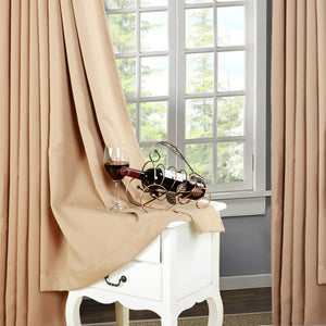 TEKAMON Thermal Insulated Blackout Grommet Curtains for Living Room/Bedroom (Camel)