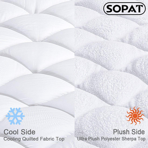 "Reversible Mattress Pad Cover Summer Cooling Mattress Topper All-Season Sherpa Quilted Fitted Pillowtop with 8-21"" Deep Pocket"