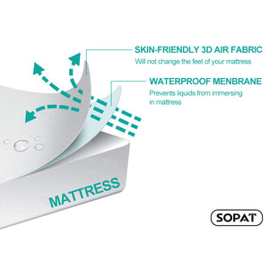 SOPAT Mattress Protector 100% Waterproof Mattress Pad Cover,3D Air Fabric Hypoallergenic Breathable,Smooth Soft Cover
