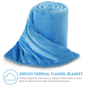 Fleece Blanket Super Soft Warm Extra Silky Lightweight Bed Blanket, Couch Blanket, Travelling and Camping Blanket (Lake Blue)