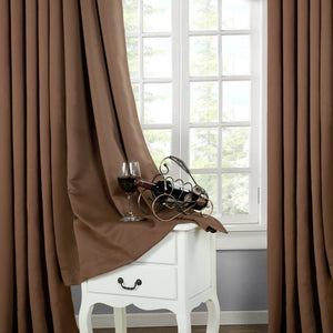 TEKAMON Thermal Insulated Blackout Grommet Curtains for Living Room/Bedroom (Dark Brown)