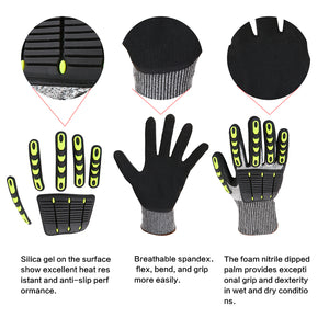 Impact Reducing Safety Gloves, Abrasion resistant, Cut Resistant, Ideal for Heavy Duty Safety Work like Mechanic, Garden Construction, Car Repairing Industrial