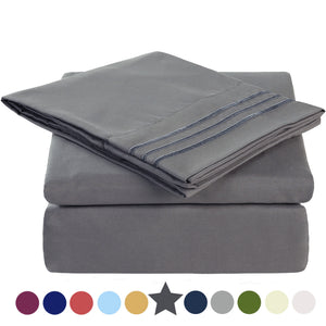 Microfiber Bed Sheet Set - Made Of 1800 Thread Count 100% Microfiber Polyester - Extra Deep Pocket - Stain Resistant, Warm, Breathable And Hypoallergenic - 3/4 Piece (Dark Grey) - TEKAMON