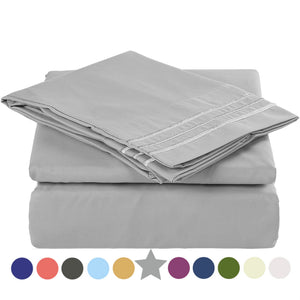 Microfiber Bed Sheet Set - Made Of 1800 Thread Count 100% Microfiber Polyester - Extra Deep Pocket - Stain Resistant, Warm, Breathable And Hypoallergenic - 3/4 Piece (Grey) - TEKAMON