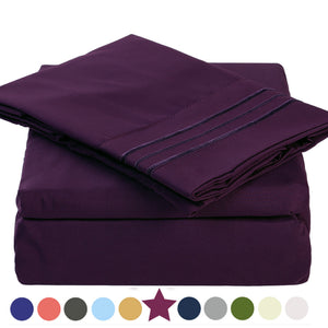 Microfiber Bed Sheet Set - Made Of 1800 Thread Count 100% Microfiber Polyester - Extra Deep Pocket - Stain Resistant, Warm, Breathable And Hypoallergenic - 3/4 Piece (Purple) - TEKAMON