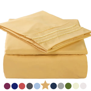Microfiber Bed Sheet Set - Made Of 1800 Thread Count 100% Microfiber Polyester - Extra Deep Pocket - Stain Resistant, Warm, Breathable And Hypoallergenic - 3/4 Piece (Gold) - TEKAMON