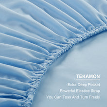 Microfiber Bed Sheet Set - Made Of 1800 Thread Count 100% Microfiber Polyester - Extra Deep Pocket - Stain Resistant, Warm, Breathable And Hypoallergenic - 3/4 Piece (Lake Blue) - TEKAMON