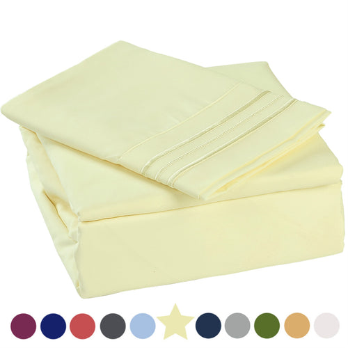 Microfiber Bed Sheet Set - Made Of 1800 Thread Count 100% Microfiber Polyester - Extra Deep Pocket - Stain Resistant, Warm, Breathable And Hypoallergenic - 3/4 Piece (Ivory) - TEKAMON