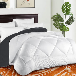 Comforter Duvet Insert with Corner Tabs for Duvet Cover Summer Cooling 2100 Series, Snow Goose Down Alternative, Hotel Collection Reversible, Hypoallergenic Choice, White/Grey
