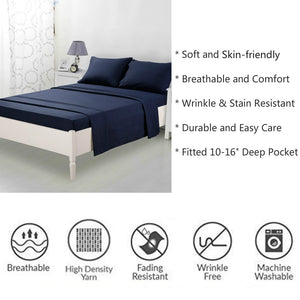 Microfiber Bed Sheet Set - Made Of 1800 Thread Count 100% Microfiber Polyester - Extra Deep Pocket - Stain Resistant, Warm, Breathable And Hypoallergenic - 3/4 Piece (Navy Blue) - TEKAMON